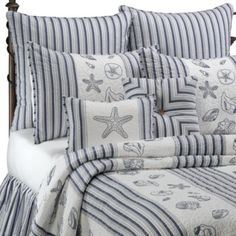 Seaside Stripe Quilt, 100% Cotton - BedBathandBeyond.com. Use striped shams and bedskirt with white shell coverlet