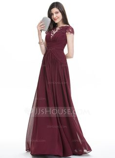 8c4196d1c41c  DKK 1.166  A-Line Princess Scoop Neck Floor-Length Chiffon Evening Dress  With Ruffle Lace. Ditte Lichinger · Kjoler