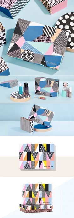 This design was created for Birchbox's August monthly subscription box. The palette features vibrant hues alongside a bold, playful pattern design to compliment the season. Branding And Packaging, Packaging Box, Clever Packaging, Cosmetic Packaging, Product Packaging, Design Poster, Print Design, Inspiration Logo Design, Fashion Inspiration