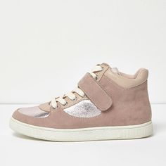 pink textured panel hi tops by River Island. Textile upper Contrast silver panelling Snake print padded ankle Lace-up fastening Velcro strap Chunky white sole