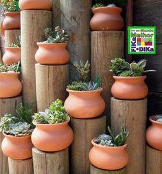 Usando troncos na decoração do jardim