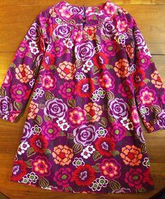 Lands' End Dress size 7 Modern Floral corduroy shift dress long sleeves #LandsEnd #Everyday