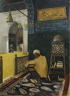 Başlık: Reciting the Quran Oluşturan: Osman Hamdi Bey (Turkish, 1842-1910) Oluşturulma Tarihi: Unknown Fiziksel Boyutlar: 72.5 x 53 cm-Osman Hamdi Bey was born in Istanbul, the eldest son of Grand Vezir İbrahim Edhem Paşa. His father sent him to Paris to study law in 1860, but influenced b...