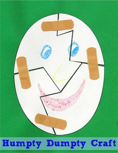 Nursery Rhyme Craft for Kid - This is such a cute idea for a Humpty Dumpty craft for toddler, preschool, or Kindergarten!