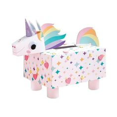 We love this Unicorn decorating craft for the kids! Great for a Valentines mailbox and more!