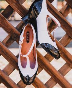 Royal Vintage 1920s Black & White Two-Tone Leather T-Strap Heels