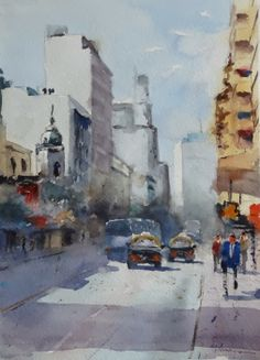 Fernando Pena - Acuarelas - Watercolors: Caminando por 18 de Julio