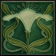 Details about Rare Antique Mintons Art Nouveau Tile Arum Lily