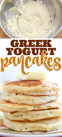 Greek yogurt pancakes are delicious easy to make and full of healthy protein to make you feel good about breakfast. Greek yogurt pancakes are delicious easy to make and full of healthy protein to make you feel good about breakfast. Best Greek Yogurt, Greek Yogurt Pancakes, Greek Yogurt Protein, Yogurt Dessert, Yogurt Bar, Yogurt Parfait, Easy Cooking, Cooking Recipes, Healthy Recipes
