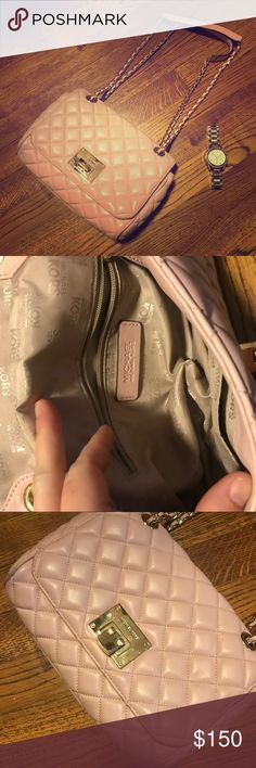 PRICE DROP! Pink Michael kors shoulder bag Michael kors light pink quilted leather shoulder bag! good used condition! Tons of life left in this bag! Check out my listing for the studded shoes in my closet 💗 Michael Kors Bags Shoulder Bags