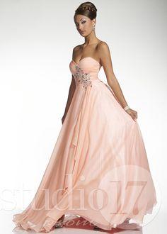 Studio 17 12432 - Pink Strapless Chiffon Prom Dresses Online #thepromdresses