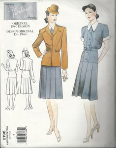 40s Repro Vogue 2196 Jacket and Dress Sewing by sleuthpatterns