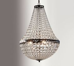 """Mia Faceted-Crystal Chandelier Overall (without chain): 13.5"""" diameter, 22.5"""" high Height: 22.5"""" minimum; 94.5"""" maximum (approximately 8' maximum) Canopy: 5"""" diameter, 1"""" high Chain: 6' long Adjustable chain allows chandelier to be hung in rooms with up to 12' ceiling height. Cord: 10' long Bulb (3): 40 watt incandescent, type B, or 9 watt CFL, type B (not"""