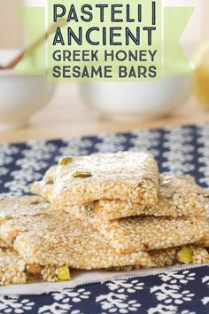 Greek Sesame Bars | Make the worlds first energy bar. Eat what the Ancient Greeks would have. It's as simple as honey and sesame seeds
