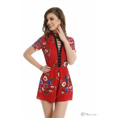 6e85ef3d35 Ladies red floral print lace up playsuit wholesale - new in  playsuits - Women s  Wholesale Clothing Supplier