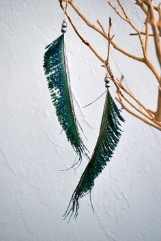 Peacock Spear Feather Earrings with Beads  Style 014 by jessamurph, $25.00