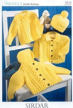 Baby Knitting Patterns Sweter Baby Aran Hooded Jacket Collared Jacket & Sweater in DK 8 ply for sizes 16 – 26 … Baby Knitting Patterns, Knitting For Kids, Baby Patterns, Vintage Patterns, Free Knitting, Knitting Needles, Double Knitting, Crochet Patterns, Cardigan Bebe
