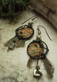 a Traveling Bohemian  Mixed Media Earrings by AlteredAlchemy, $49.00