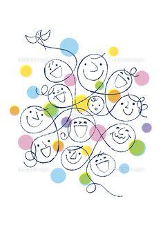 人々の笑顔と小鳥 (c)Formmart Cool Patterns, Soft Colors, Japanese Art, Line Art, Embroidery Patterns, Holiday Cards, Art For Kids, Diy And Crafts, Doodles