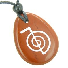 Tibetan Life Energy Power ChoKu Ray Reiki Believe Amulet Red Jasper Pendant Necklace