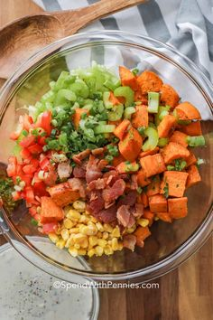 Sweet Potato Salad is a potluck favorite! Colorful and absolutely delicious, this recipe features roasted sweet potatoes, crisp veggies and smoky bacon all tossed in a creamy dressing. Kale Sweet Potato Salad, Southern Potato Salad, Potato Salad Dressing, Warm Potato Salads, Sweet Potato Noodles, Salad Dressing Recipes, Salad Recipes, Potluck Side Dishes, Side Dishes Easy