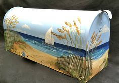 Hand Painted Mailbox Serene Beach scene with a Sailboat on the Ocean - Designer Post style Mailbox Cool Mailboxes, Painted Mailboxes, One Stroke Painting, Tole Painting, Diy Mailbox, Mailbox Ideas, Large Mailbox, Shabby Chic Beach, Beach Furniture