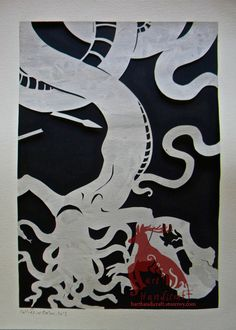 A painted sheet of watercolor paper cut in the shape of Medusa and fragments of her victims. Size is approximately 11x14 in. Frame included. May be purchased at http://harthandicraft.storenvy.com/products/3436949-medusa #medusa #mythology #greek #papercraft #cutout #pagan #harthandicraft