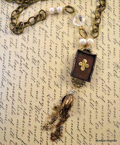 Copper Heart & Soul Shadow Box Vintage Necklace by RueRueOriginals