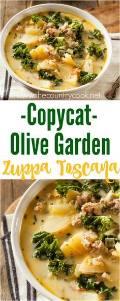 Copycat Olive Garden Zuppa Toscana recipe from The Country Cook. I think it'… Copycat Olive Garden Zuppa Toscana recipe from The Country Cook. I think it's even better than the one you get at Olive Garden – SO good! Beef Soup Recipes, Healthy Diet Recipes, Easy Recipes, Good Soup Recipes, Dinner Recipes, Easy Delicious Recipes, Lunch Recipes, Crockpot Recipes, Olive Garden Zuppa Toscana