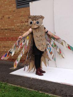 Final owl costume on model