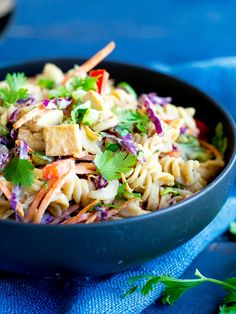 Asian Peanut Pasta Salad with Tofu- A mayo free pasta salad that is packed with flavor and vegetables!  It's gluten free and vegan and perfect for your next BBQ or a make ahead lunch!  It's also great for a quick and easy vegetarian dinner!