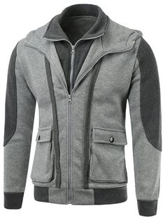 Hoodies | Light gray Cargo Pocket Front Contrast Insert Double Zip Hoodie - Gamiss