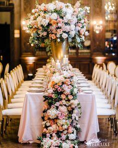 Trailing florals are everything!   Photography By: AGI Studio   WedLuxe Magazine   #WedLuxe #Wedding #luxury #weddinginspiration #luxurywedding #weddingdecor #weddingflowers #weddingflorals #centerpieces #blushflowers