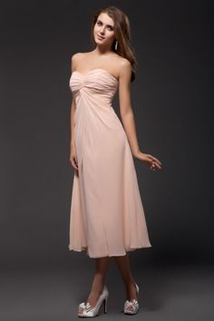 Sheath Strapless Pleated Beige calf-length Chiffon Bridesmaid Dress