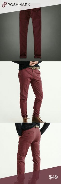 Abercrombie Navy tan burgundy skinny stretch pants Used lightly but many miles left in any of these bad boys.  No issues, just not a skinny pant kind of guy anymore!  Treat these as true skinny pants, but with a little stretch for those days you need a little extra room.  The pics are not the exact pants, however, these had better lighting and minor difference between these and mine. Abercrombie & Fitch Pants Chinos & Khakis