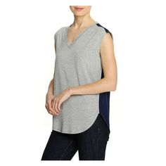 Mixed Media V-Neck Tank in Light Grey Mix from Joe Fresh