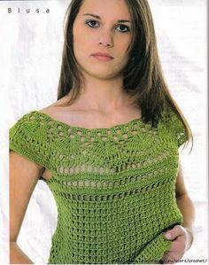 Green Blouse free crochet pattern - symbols only