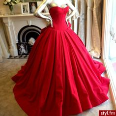 Gorgeous red corseted, poofy-skirted gown!!!  Delicious!!!