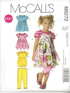 McCall's M 6272 Easy Girls Play Outfit, Top and Pants, Size 2-5, OOP UNCUT - Children