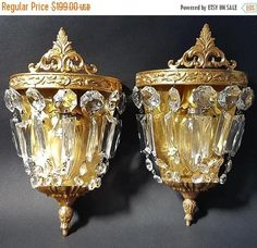 SALE French Crystal Wall Light Sconces Pair of Antique