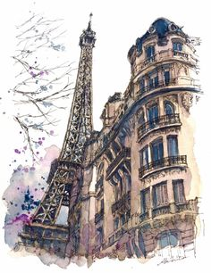 The Eiffel Tower, Paris, France. Travelling, Drawing and Painting. By Akihito Horigome. drawing Travelling, Drawing and Painting Paris Kunst, Paris Art, Watercolor Architecture, Architecture Art, Watercolor Sketch, Watercolor Paintings, Eiffel Tower Painting, Eiffel Tower Drawing, Eiffel Tower Art