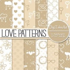 """Hearts digital paper pack """"Love Patterns"""". In this pack I included digital papers in neutral colors of cream, beige and white with valentine heart, cloud, letter, twig, sunglasses, heart balloon, key and angel wings patterns.  You can use them for many purpuses like scrapbooking, making cards, invitations, collages, crafts, web graphics, for anything your creative spirit can think of! Digital paper pack by DigiTalesArt."""