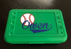 Personalized Pencil Box / Art Supply Container /  Baseball Fans by MonogramCollection on Etsy