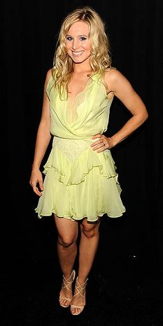 KRISTEN BELL  The actress's lime ruffled Jenny Packham frock and strappy nude sandals surely pleased the male audience at the Guys Choice Awards.