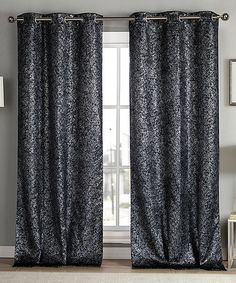 This Black Metallic Maddie Blackout Curtain Panel - Set of Two is perfect! #zulilyfinds