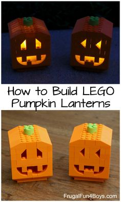 to Build Pumpkin Lanterns with LEGO Bricks How to Build Pumpkin Lanterns with LEGO Bricks - fun October building idea! Instructions in the post.How to Build Pumpkin Lanterns with LEGO Bricks - fun October building idea! Instructions in the post. Lego Halloween, Halloween Crafts, Holidays Halloween, Halloween Pumpkins, Halloween Decorations, Halloween Party, Frugal, Lego Moc, Lego Lego
