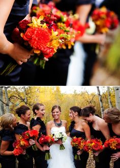 Fall Wedding... I normally don't like black dresses for bridesmaids but I actually love theses!!