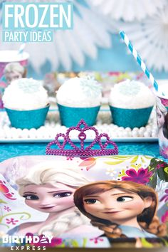 Frozen cupcakes are the ultimate Frozen party foo.! Glittery wrappers and snowflake toppers make it even more special. Decorate your child's next birthday in easy, amazing, gorgeous ways with Frozen party ideas on Birthday Express.