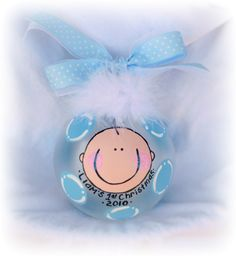 Personalized baby boy hand painted glass ball ornament. $14.99, via Etsy.