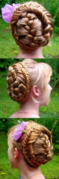 You would have to have super long hair for this Updo, but all it is is a French braid until you reach the skirt of the hair - then you change it to a fishtail braid, wrap, and pin. Fancy Hairstyles, Braided Hairstyles, Princess Hairstyles, Braided Updo, Beautiful Braids, Gorgeous Hair, Cool Braids, Silver Hair, Hair Dos